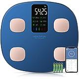 Kroppsfettvåg, hälsosam Bluetooth-personvåg med 15 kroppsdata inklusive puls, 7 data som visas på en extra stor VA-skärm, sma
