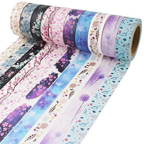 Benvo Antner Blumen Muster Washi Masking Tape Collection, Set aus 10 Rollen für Scrapbooking Kunst Handwerk Büro Party Supplies und Geschenkverpackung