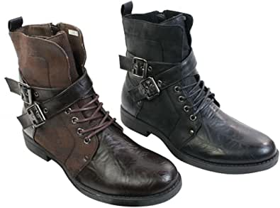 ELONG Mens Punk Rock Goth Elmo Ankle Boots Brown Black Leather Buckle