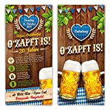 Einladungskarten Oktoberfest Geburtstag (50 Stück) Bayern Einladungen - O'zapft is! in Blau