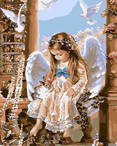 Suntown Malen nach Zahlen 40 x 50cm DIY Leinwand Gemälde für Erwachsene und Kinder mit 3 Bürsten und Acrylfarben - Engel und Kaninchen (Nur Leinwand) -