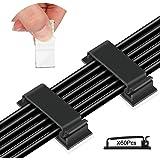 60 Clips Adhesivos para Cables,Organizador Cables 46X20mm,Clips de Cable,para Cables en Hogar, Oficina y Coche (Negro)
