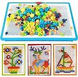 Zecken tocking 296PCS Puzzle Mix Farbe Pilz Nägel Stecktafel Educational Building Blocks Bricks Kreativ DIY Mosaik Toys Geburtstag Weihnachten Geschenk für Kinder Alter über 3Jahre old
