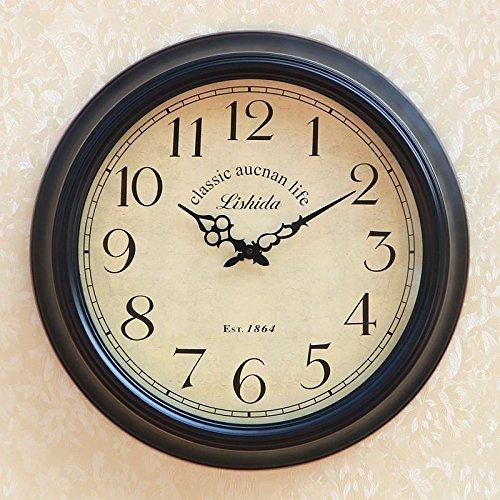 Qwer Ferro continentale Art Nouveau Orologio nero moderno classico Tavolo pensile Americrural Soggiorno Orologio da parete ,20 Silenzio