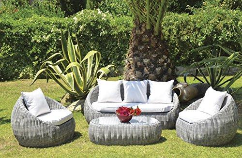PEGANE Salon de jardin de 4 pièces/5 places en aluminium résine tressé coloris gris clair