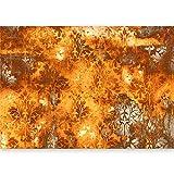 murando - Fototapete Ornament ORANGE 500x280 cm - Vlies Tapete -Moderne Wanddeko - Design Tapete - Ornament Blätter f-A-0465-a-b