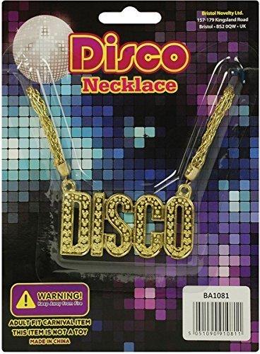 Unisex Erwachsene 1960er Ausgefallenen Stil Disco Party Zubehör Medaillon Halskette-gold