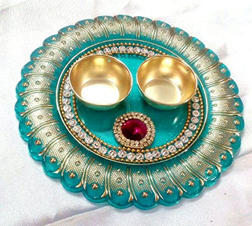 Elegant Handmade Bhai Dooj Aarti Plate - Set of 3 - Decorated Aarti Thali and two decorated Bowls - Multiple Designs and Colors Available
