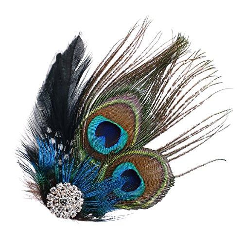 Stirnband Pfau Kostüm - ArtiDeco 20er Jahre Flapper Pfau Feder Haarclips 1920s Damen Gatsby Kostüm Accessoires