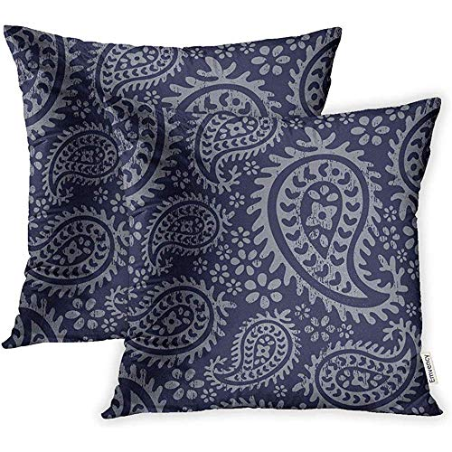 Cushion Cover 45 * 45cm Print Polyester Zippered Blue Pattern Boho Paisley Floral Distressed Dark Navy Palette Tonal Pillowcase -