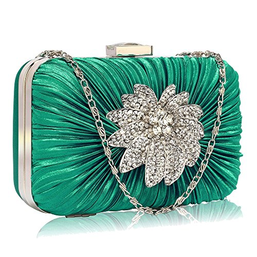 Stunning Emerald Gorgeous Satin Rouched Brooch Hard Case Blue Evening Bag -