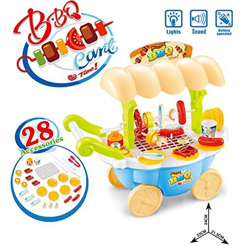 LONGLOVE Kinder Simulation Multi-Funktions-Elektro-Mini-BBQ-Grill Küchenutensilien Spielhaus Trolley-Spielzeug-Set (Gelb)