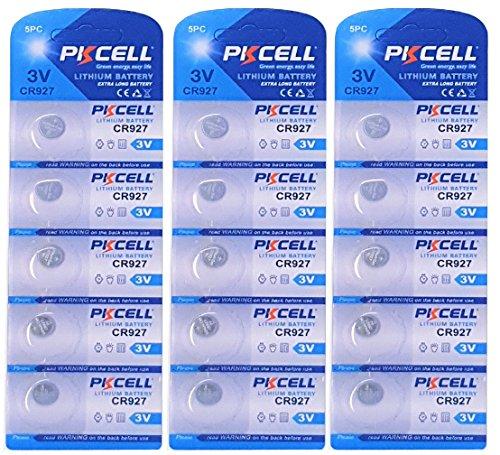 PKCELL 15 x CR927 3V Lithium Knopfzelle 30 mAh (3 Blistercards a 5 Batterien) Markenware FBA