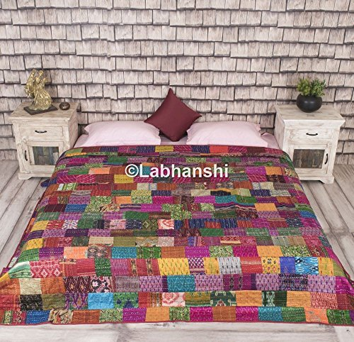 Patola Silk Patch Work Kantha Quilt, Indian Sari Quilt, Printed Bedspread, Boho King Size Bedding, Bohemian Throw Blanket, Indian Ethnic Cotton Reversible Bedcover, Amazing Antique Design Tapestry