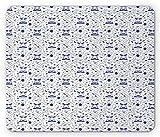 Nautical mouse pad, appendere l' amaca tra due palme tra di ancoraggio e animali acquatici, misura standard rettangolo gomma antiscivolo mouse viola, blu e bia