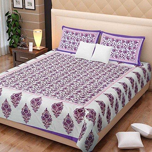 Traditionelle Mafia Floral Vine Gedruckt Doppelbett Blatt Set mit 2Kissenbezügen, King, Violett/Pink