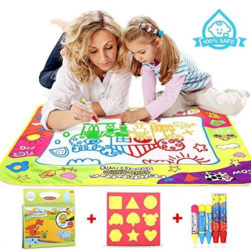 Cooljoy Aqua Magic Doodle Matte Mit 1 Magisches Wassermalbuch+5 Stiftes+1 Charakterform+1 Geschenkbox, 80x60CM Magic Wasser Malmatte Ungiftig und Geruchlos Spielzeug für Kinder