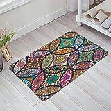 Lesif Colorful Medaillon Mandala mit Leaf Flower Zahlen Print Fußmatte Willkommen Matte Fußmatten-Entrance Mat