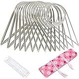 Nsiwem Aiguille à Tricoter Circulaire en Acier Inoxydable 15 Pièces Aiguille Tricot Circulaire Set 80 cm Aiguilles à Tricoter