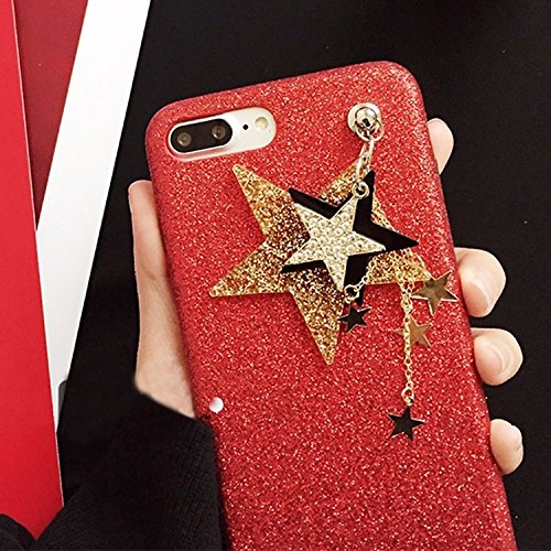 YAN Für iPhone 7 Plus Glitter Powder Soft TPU Schutzhülle mit Star Pandent ( Color : Black ) Red