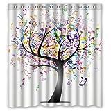 JHDHVRFR Multi-color Music Note Tree Creative Custom Waterproof Shower Curtain Bathroom Curtains Bath Curtain 60