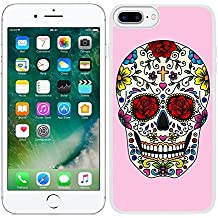 Funda carcasa para iPhone 7 Plus diseño diseño calavera mexicana fondo rosa borde blanco