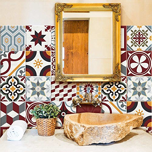 81 Adhesivo para azulejos 10x10 cm - PS00042 - Budapest - Adhesivo decorativo para azulejos para baño y cocina - Stickers azulejos - Collage de azulejos