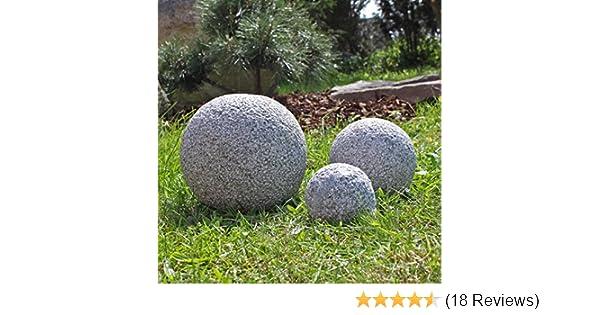 Granit Kugeln 3 massive gestockte Granitkugeln Gartenkugeln 3er Set ...