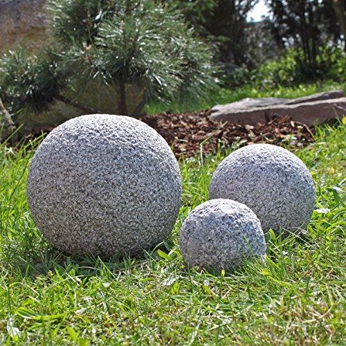 Granit Kugeln 3 massive gestockte Granitkugeln Gartenkugeln 3er Set