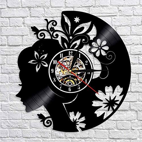 SKYTY Mädchen Haar Blume Kunst Wanduhr Schallplatte Wanduhr Uhr Handgefertigt Künstler Wand Kunst Kinderzimmer Dekor Geschenk Für Sie Keine Led 12 Zoll (Haar-versorgt Für Mädchen)
