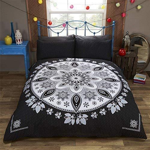 Blumenmuster Mandala gepunktet schwarz Leder weiß Baumwollmischung Doppelbett Bettwäsche