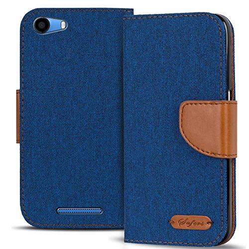 Conie TW43712 Textil Wallet Kompatibel mit Wiko Lenny 2, Textil Hülle Klapptasche mit Kartenfächer Etui Slim Cover für Lenny 2 Handyhülle Jeans Blau