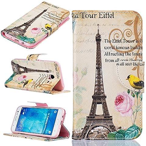Cozy Hut Custodia Samsung J5, Galaxy J5 Cover, Samsung Galaxy J5 Flip Cover, Disegno di Stampa Disegno della Farfalla di stile del Libro Portafoglio Custodia in PU Cuoio, Elegant Flip Protettivo Wallet Caso Copertina con Funzione di Supporto per Samsung Galaxy J5 - Torre a Parigi