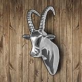 Vintage Chabby Chic Deko Steinbock - Geweih aus poliertem Aluminium / Trophäe ca.34x20cm / Wanddeko handgefertigt / Trendyshop365