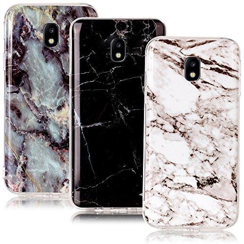 CLM-Tech kompatibel mit Samsung Galaxy J7 (2017) DUOS TPU Silikon Hülle 3X, Schutzhülle Handyhülle, Case 3er Set, Marmor Muster schwarz weiß Mehrfarbig