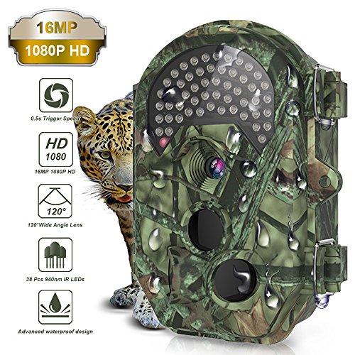 Wildkamera,THZY 16MP 1080P Full HD Jagdkamera Gartenkamera 120° Breite Vision Infrarote 20M Nachtsicht Tierbeobachtungskamera