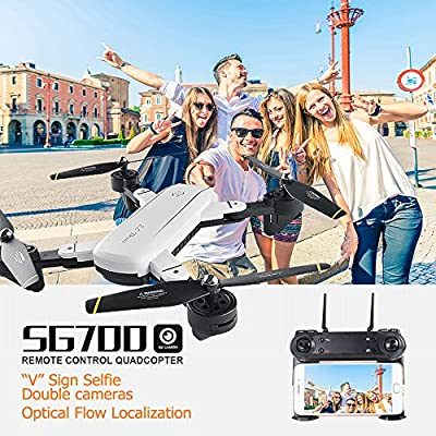 Studyset Foldable Selfie Drone SG700 2MP RC Quadcopter with Camera Wifi FPVAltitude Hold Headless Gesture Control Dron vs E58