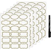 Nardo Visgo Étiquettes Autocollantes Transparentes avec Bordure dorée, étiquettes Amovibles pour Pots imperméables, de…