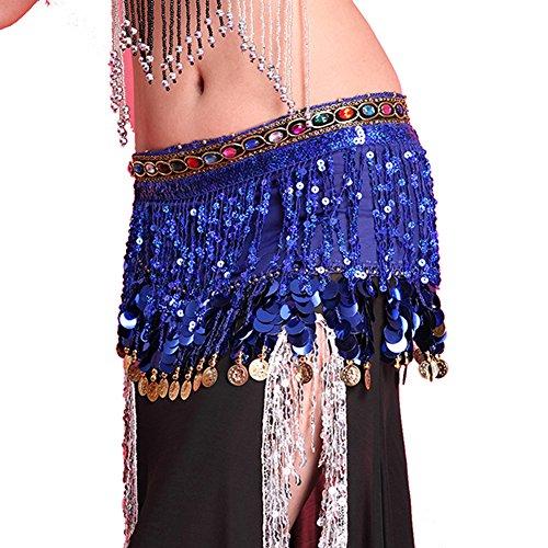 BOBORA Paillettes nappa sciarpa Hip gonna Wrap Costume monete in Chiffon cintura danza del ventre