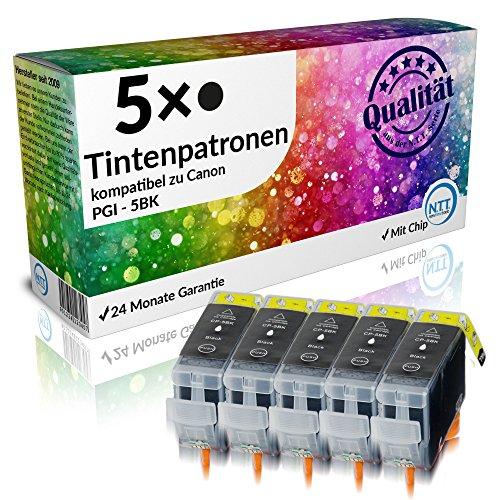 Preisvergleich Produktbild N.T.T.® 5 x Stück XL Druckerpatronen / Tintenpatronen kompatibel zu Canon PGI-5BK Schwarz / Black, Sparpack