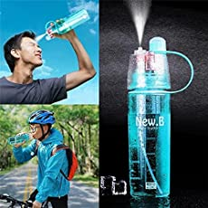 Spray Water Bottle 600 ml Mist Newest Design Plastic Sports Spray Water Bottle Straw for Outdoor Bicycle Cycling Sports Gym Drinking Bottles