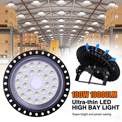 100W LED UFO Industrielampe, WZTO 10000LM LED Hallenstrahler, SMD 2835 LED High Bay Licht mit Kaltweiß 6000-6500K, Abstrahlwinkel 120° für Deckenleuchte, Hallenbeleuchtung, Werkstattbeleuchtung