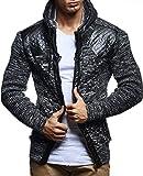 LEIF NELSON Herren Strick-Jacke mit Reißverschluss | Casual Strick-Hoodie Lang Slim Fit | Moderner Männer Strick-Cardigan Langarm