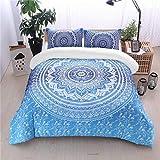 Bohemian Bedding Bettwäsche-Set, für King-Size-Bett, Mandala-Motiv, 3-teilig, Bettbezug Set mit 2 Kissenbezügen, 220 x 240 cm