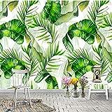 Wandgemälde Benutzerdefinierte 3D Fototapete Nordic Handgemalte Grüne Pflanze Bananenblatt Korridor Wohnzimmer Schlafzimmer Decor Wandbild Malerei,60Cm(H)×120Cm(W)