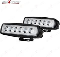 AllExtreme 6 LED Fog Light Bar 6 Inch Waterproof Driving Lamp with Mounting Bracket for Bikes and Cars (18W, Pack of 2)