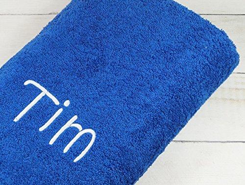 Duschtuch mit Namen bestickt Handtuch Geschenk Badetuch 500 g/m2 70 x 140 cm (70 x 140 cm, Blau)