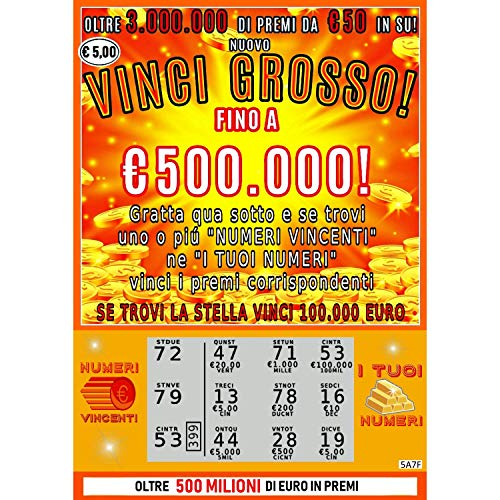 Gratta e vinci scherzo horus creations - 2 biglietti di cui 1 vincente da 100.000€ - gratta e vinci finti realistici - fai un regalo speciale e divertente alle feste, cerimonie e anniversari