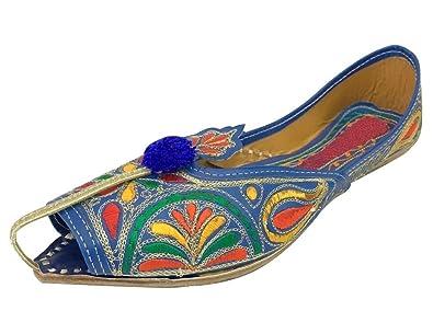 Schritt N Style Leder Damen jooti Khussa mojari Schuhe, Mehrfarbig - Mehrfarbig - Größe: 36.5