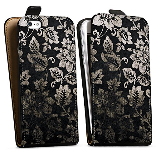 Apple iPhone X Silikon Hülle Case Schutzhülle Ornamente Muster Blumen Downflip Tasche schwarz
